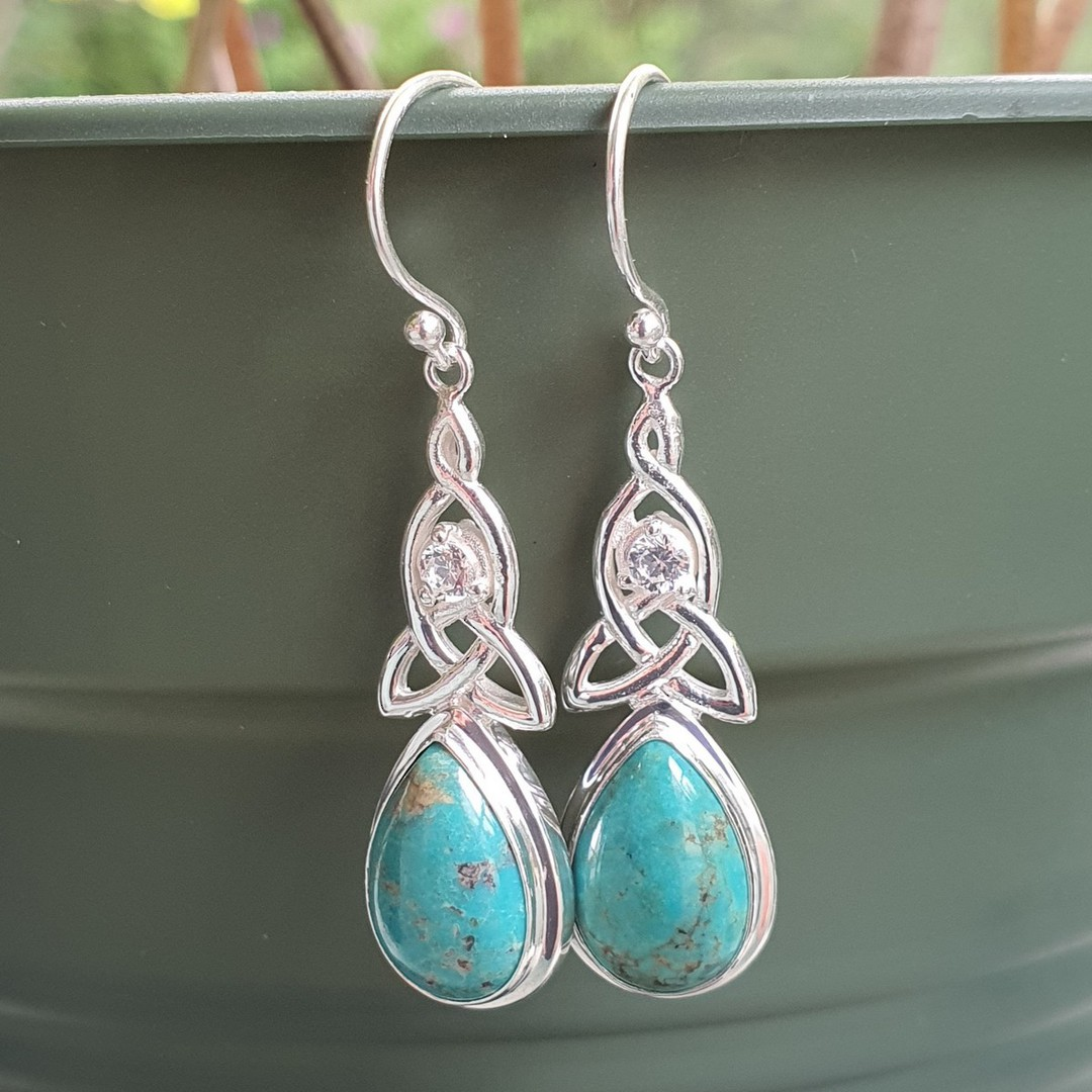 Silver turquoise earrings with infinity knot and cz image 2