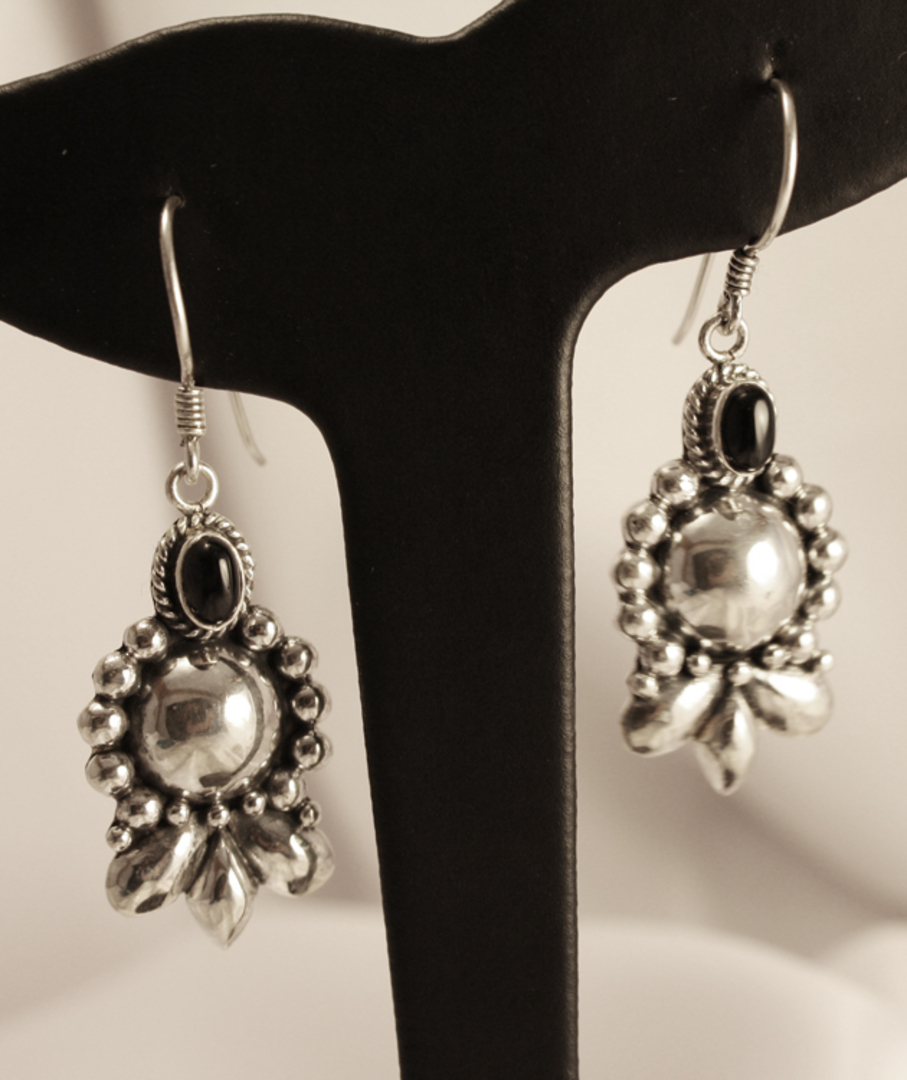 Longer length, hook style, silver onyx earrings image 0