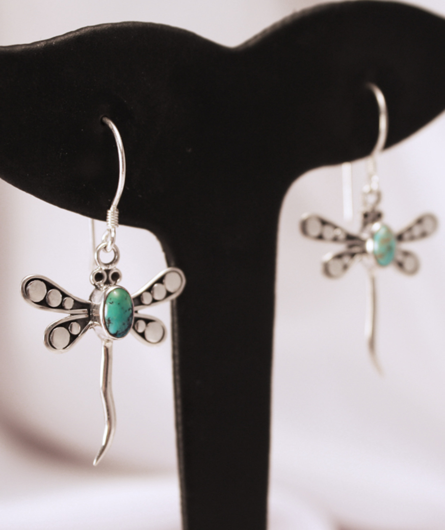 Sterling Silver Turquoise Dragonfly Earrings image 1