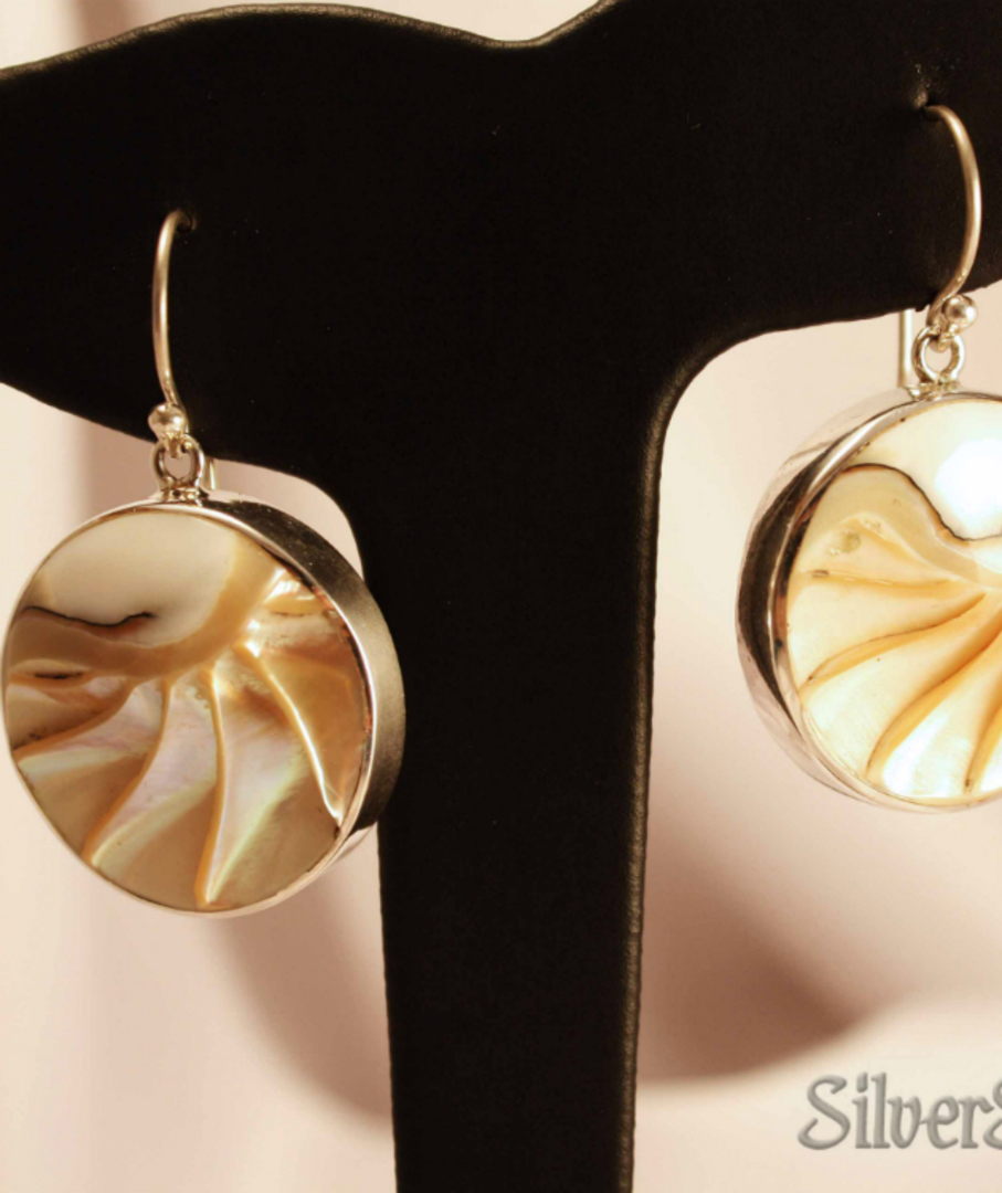 Round Nautilus Shell Silver Earrings image 1