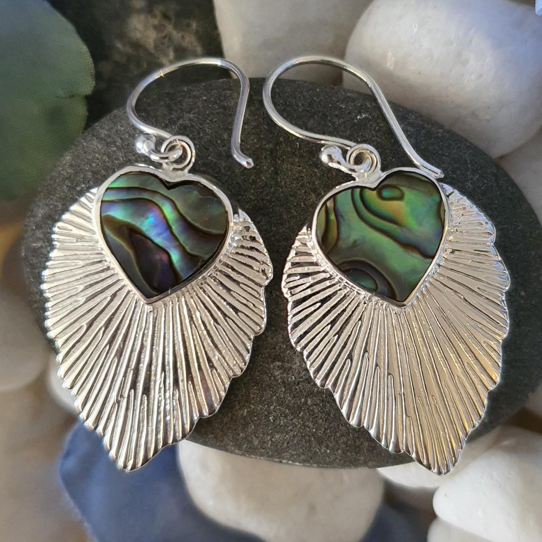 Leaf shape paua shell earrings image 2