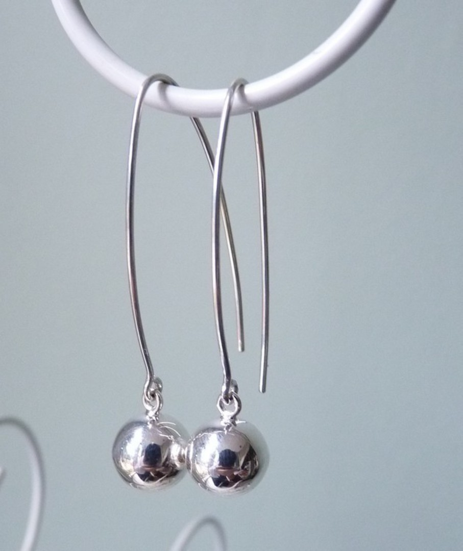 Extra long threaded silver sphere earrings - best seller! image 1