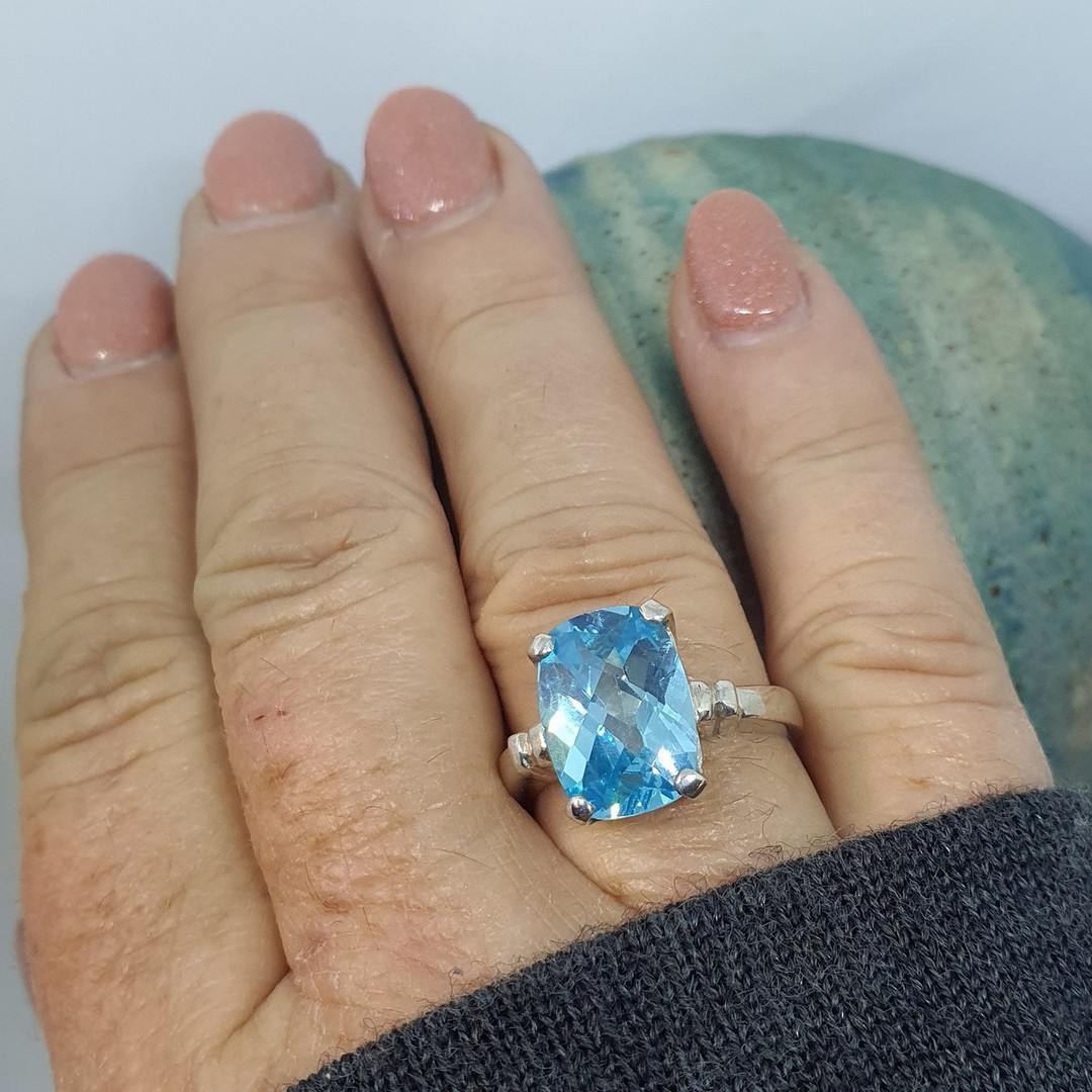 Silver blue topaz ring - NZ made image 1