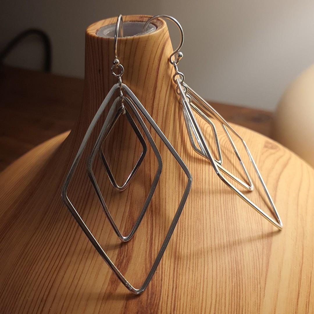 Silver large dangle earrings image 5