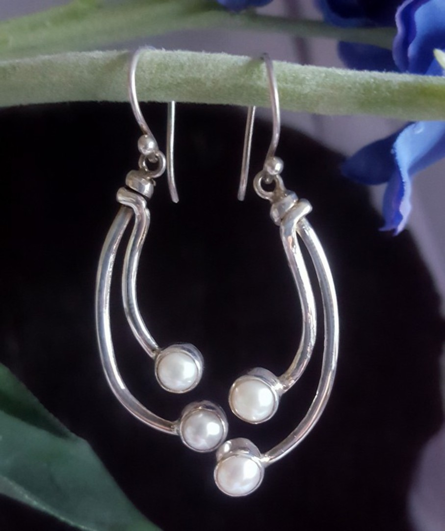 Long stem pearl earrings - sterling silver image 1