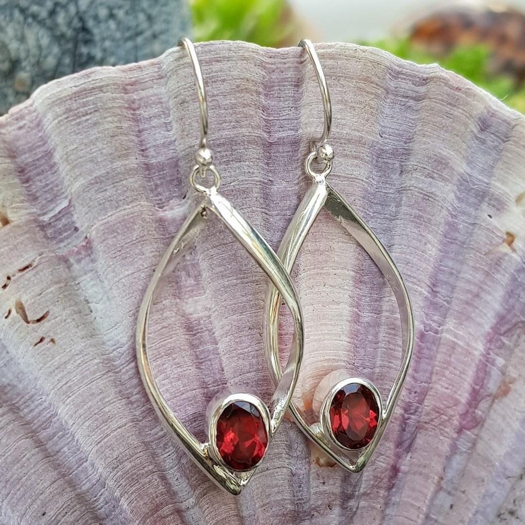 Sterling silver open teardrop earrings with garnet image 3