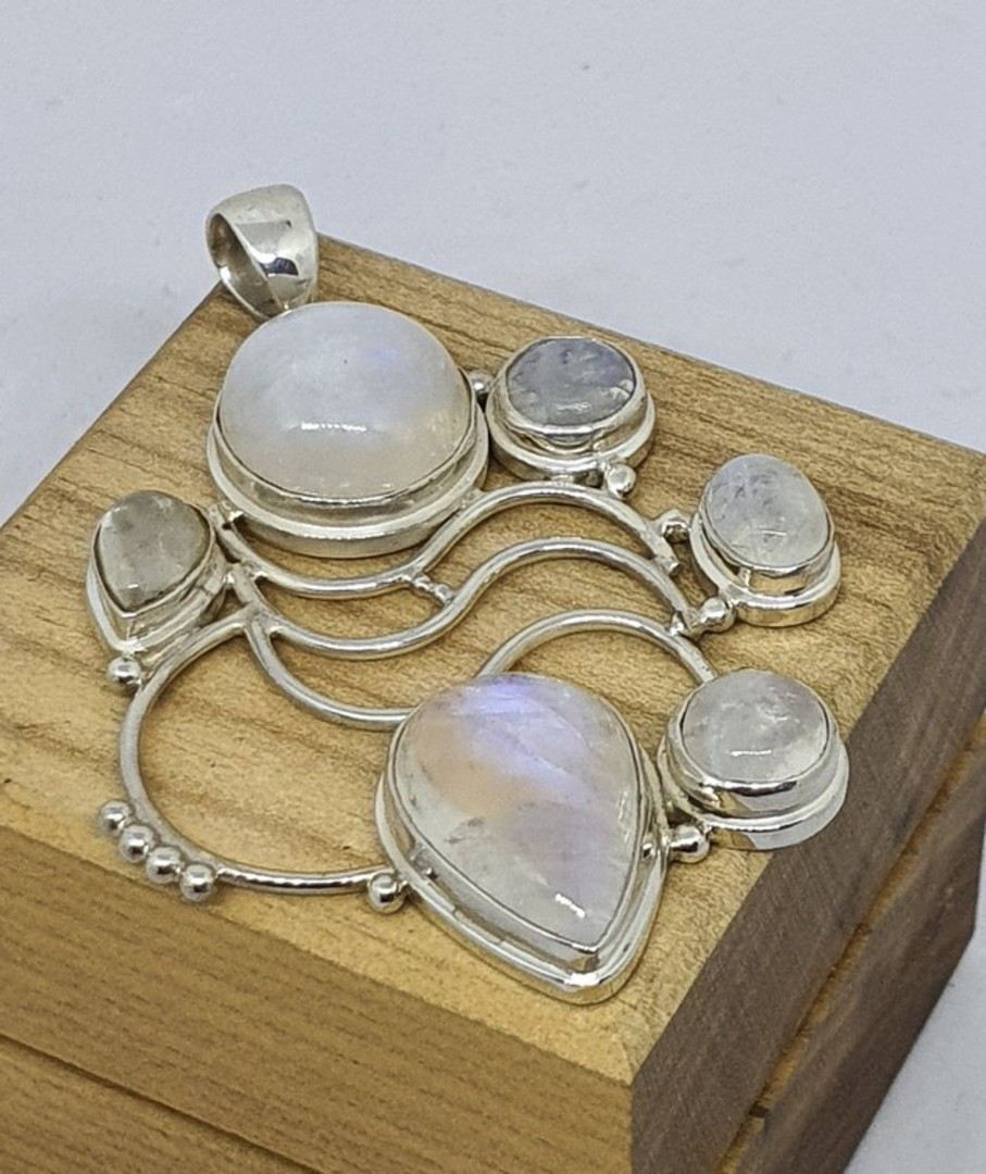 Large sterling silver moonstone pendant image 1