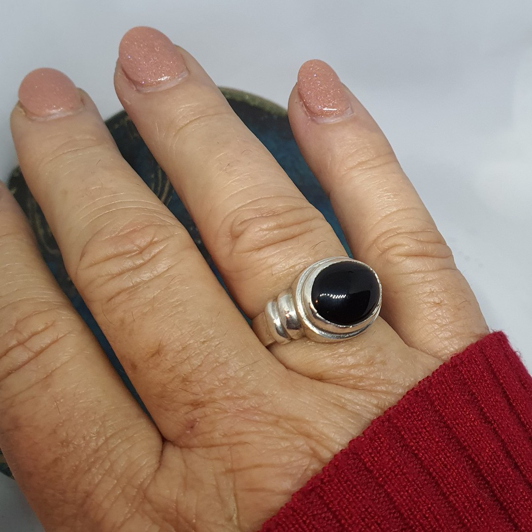 New Zealand made, black onyx silver ringg image 2