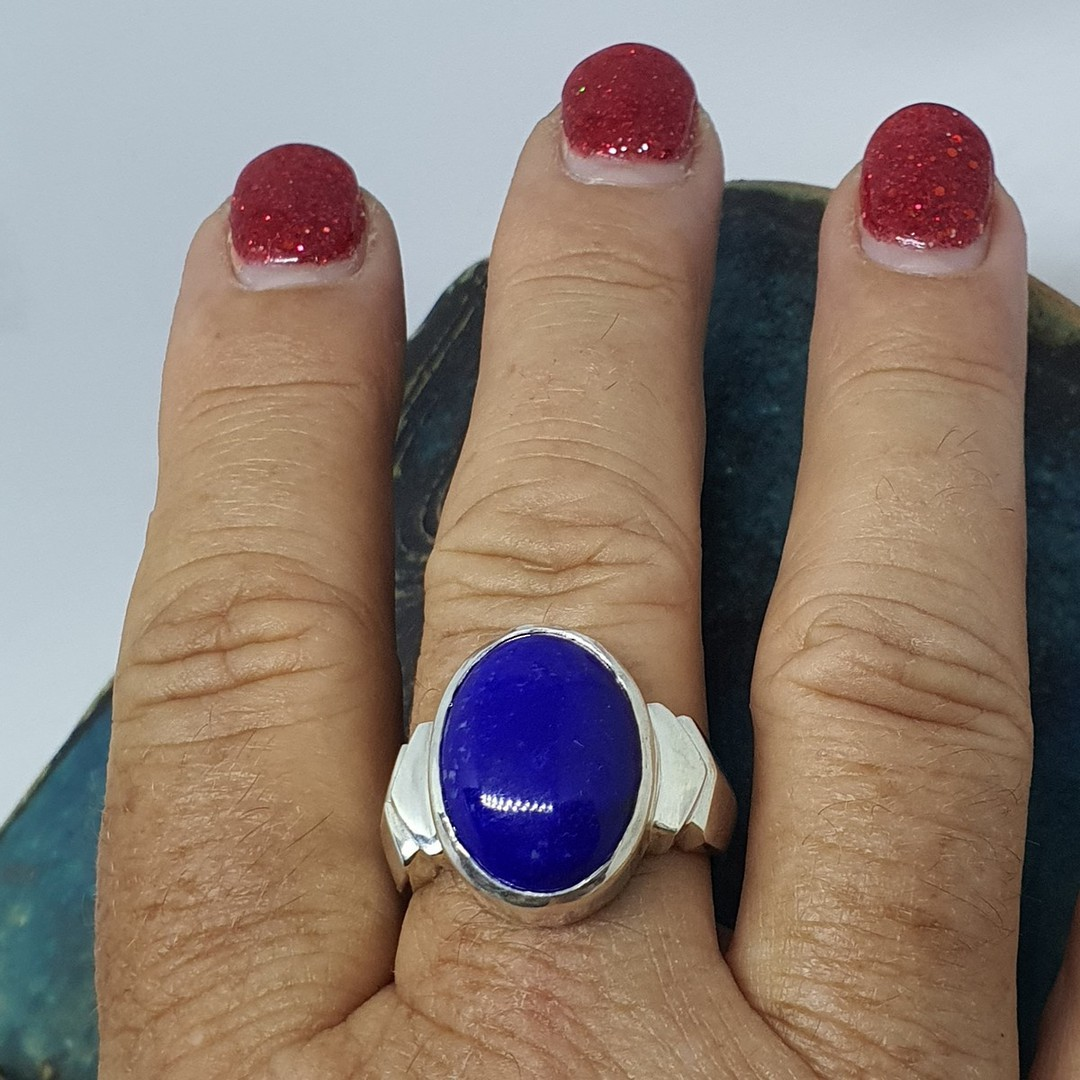 Sterling silver oval lapis lazuli ring, made in NZ image 3