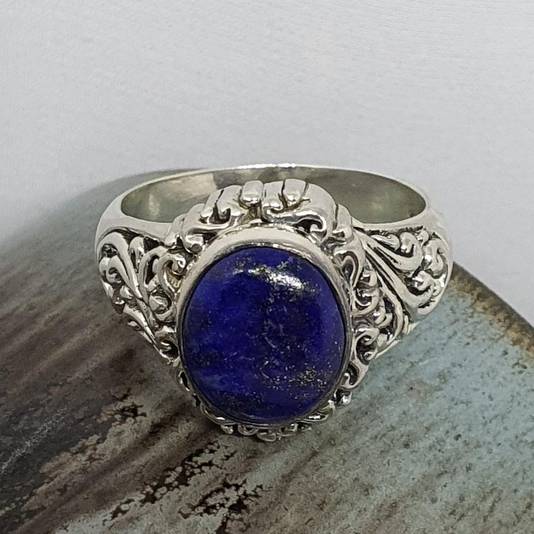 Sterling silver oval lapis lazuli gemstone ring image 0