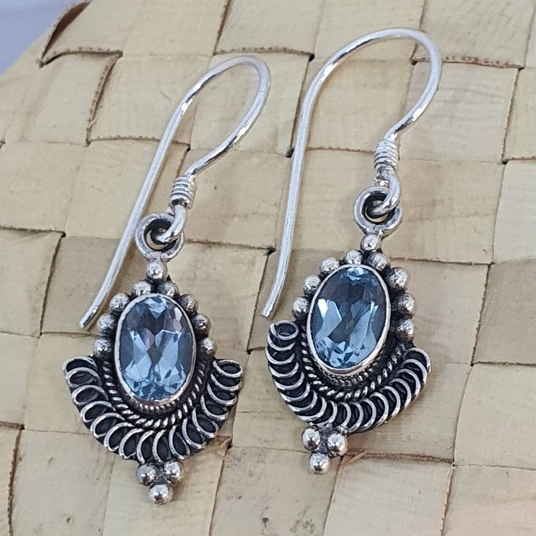 Sterling silver delicate blue topaz earrings image 0