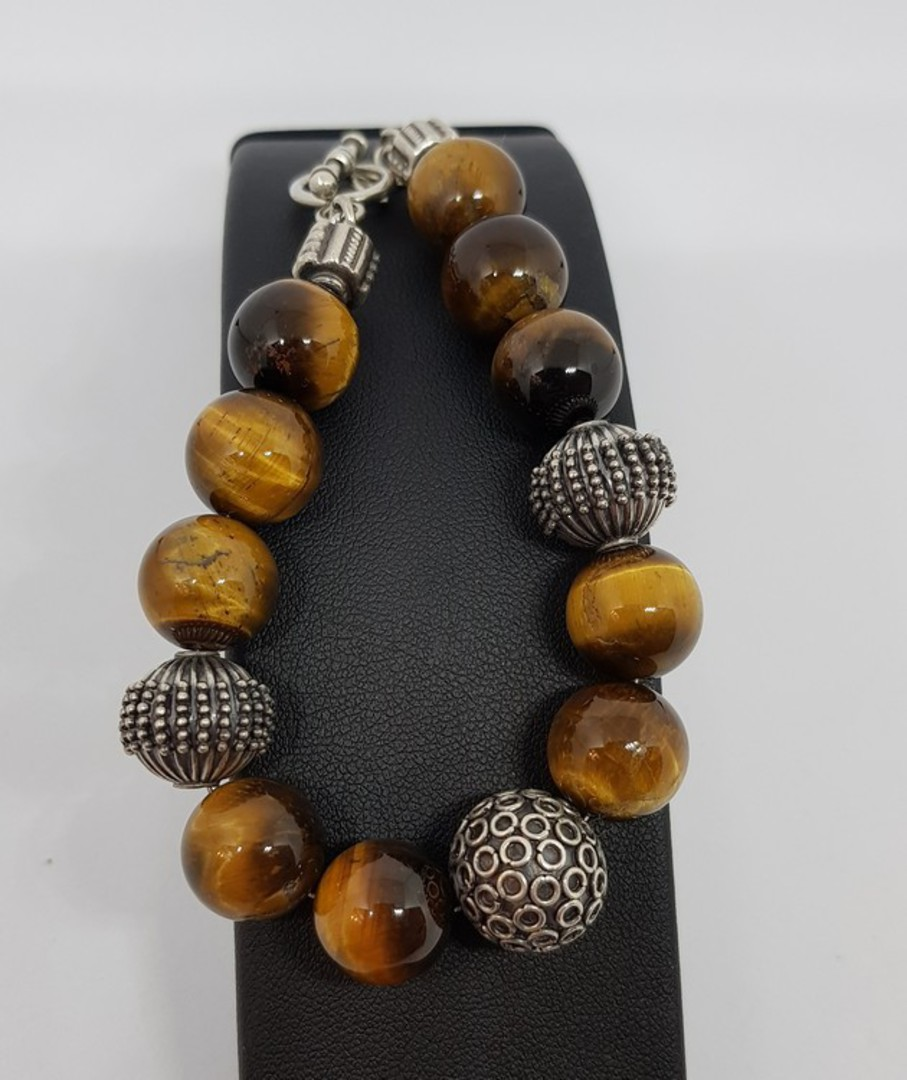 Tigers eye and silver beaded bracelet - made in NZ image 1