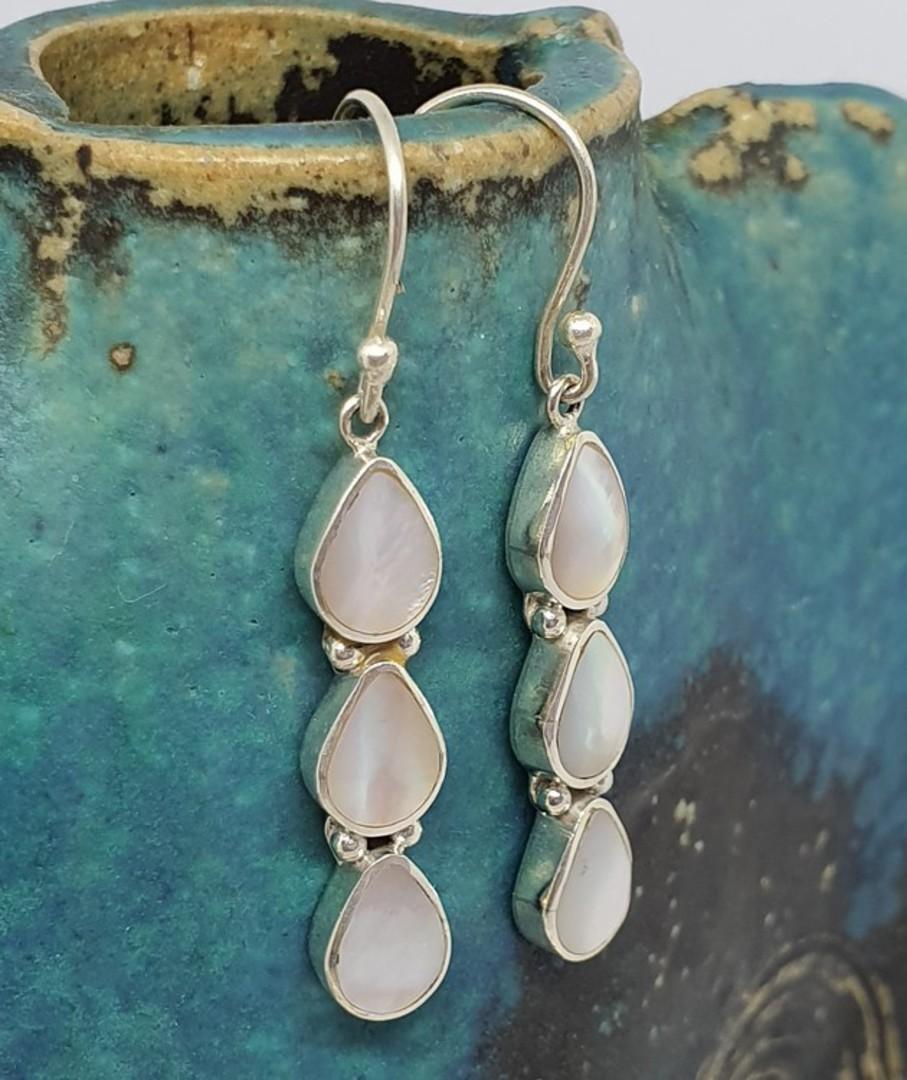 Sterling silver long elegant mother of pearl earrings image 0