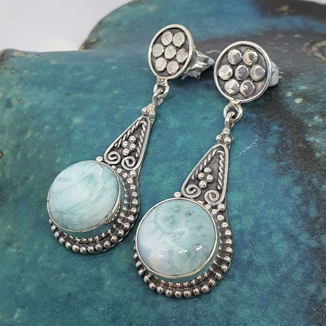 Round larimar gemstone, long teardrop silver earrings image 2