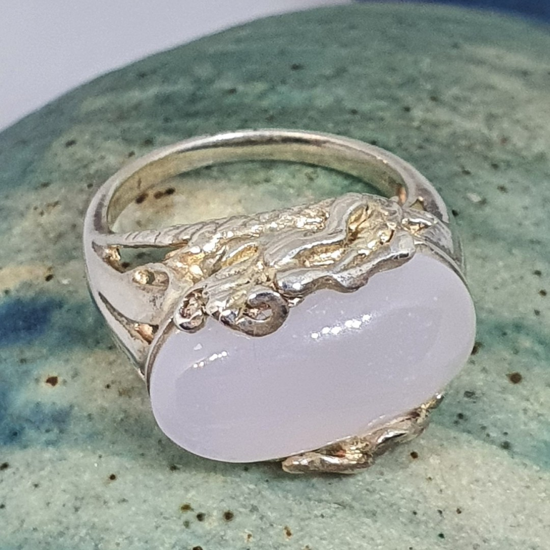 Sterling silver milky blue chalcedony ring image 5