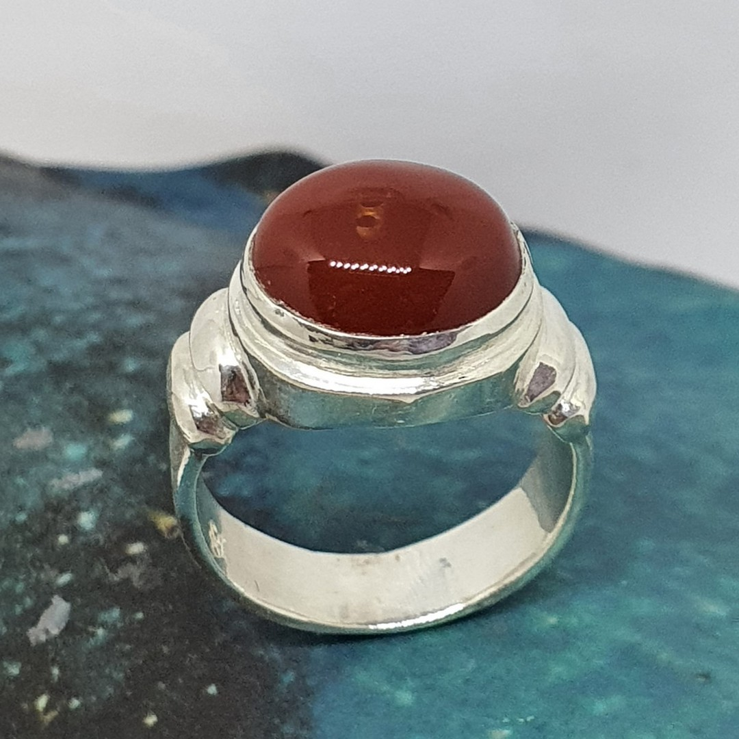 Silver carnelian ring , made in New Zealand image 1