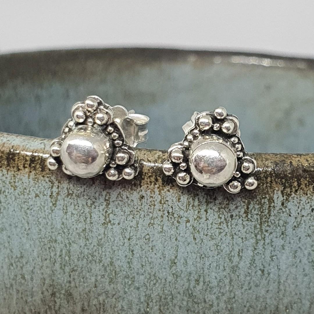 Sterling silver triangle stud earrings image 1