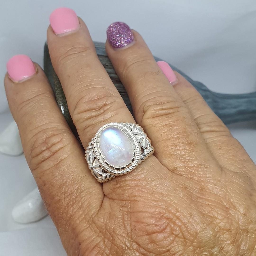 Sterling silver moonstone flower ring image 1