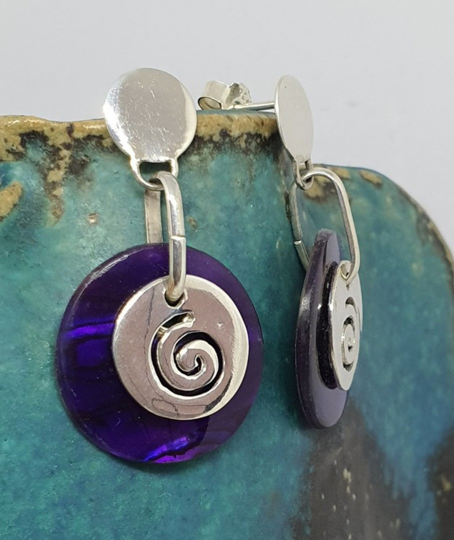 Purple paua shell earrings with koru detail image 3