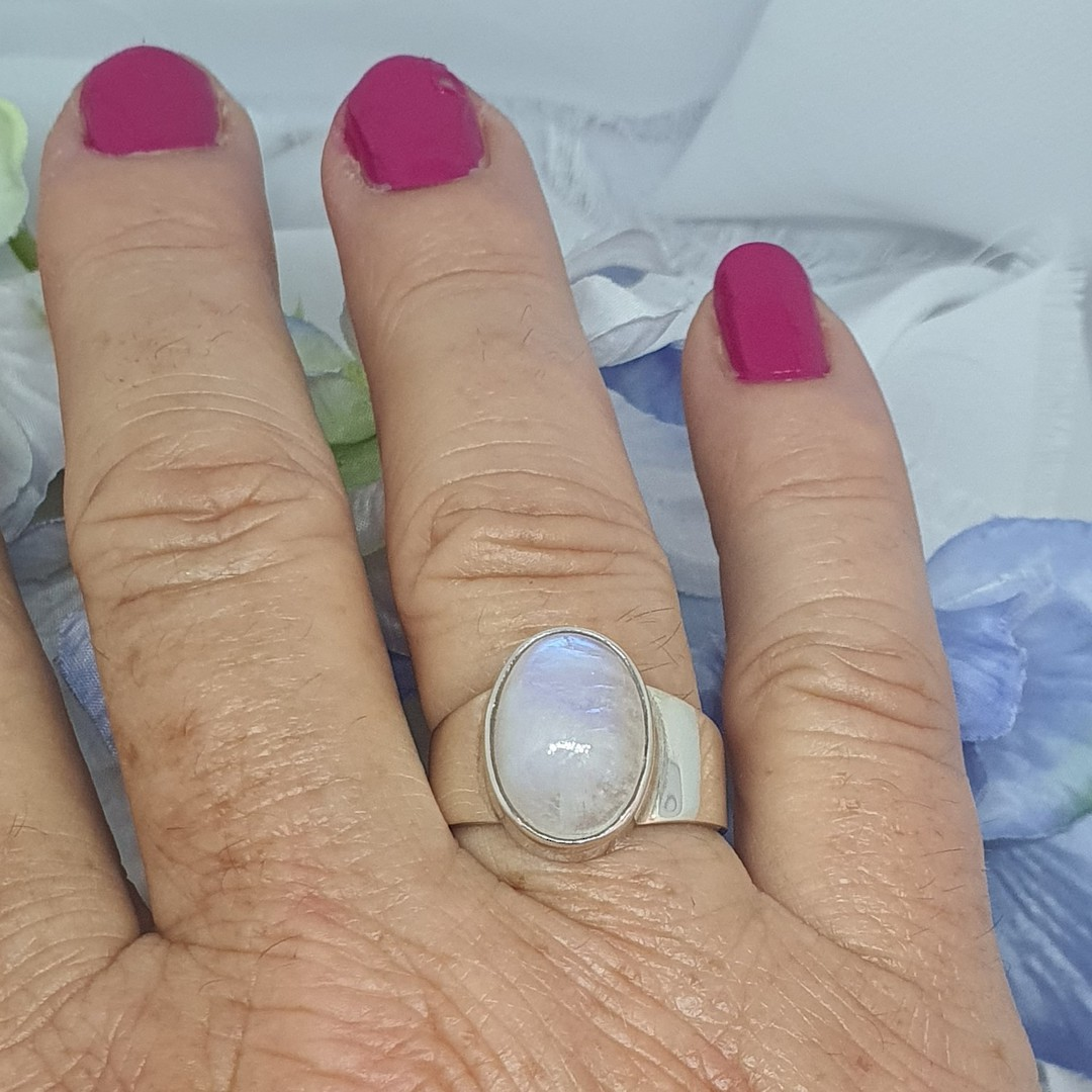 Sterling silver oval moonstone ring image 1