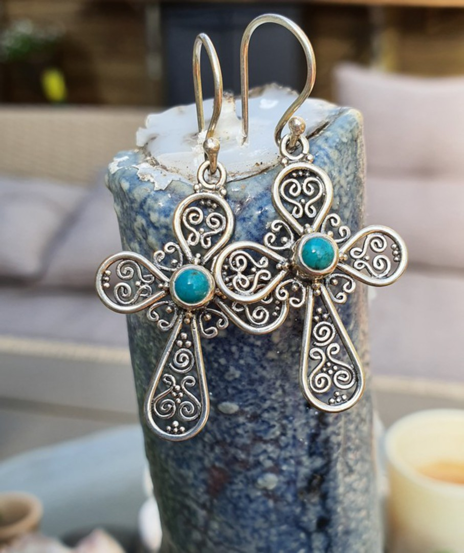 Sterling silver filigree turquoise cross earrings image 0