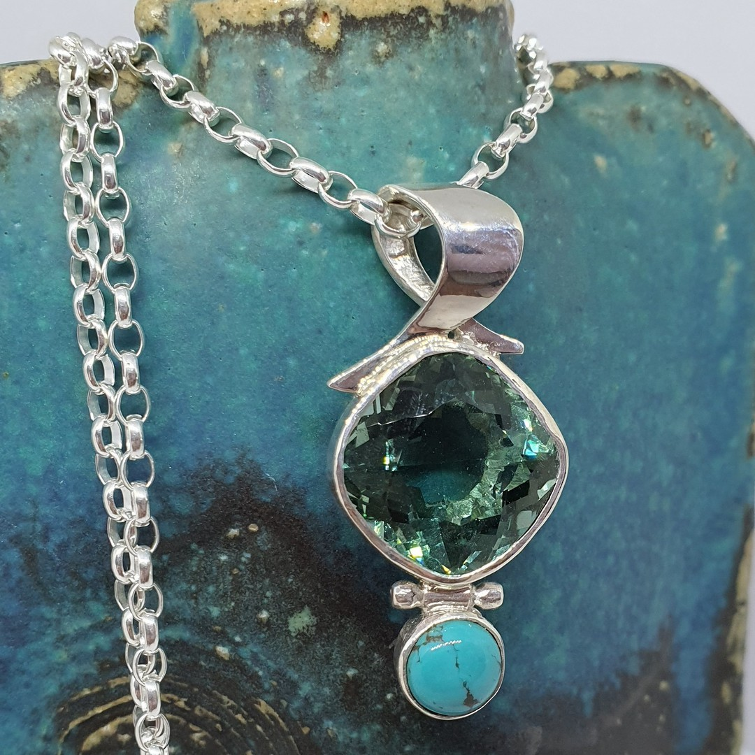 Made in NZ turquoise and coloured gemstone pendant image 3