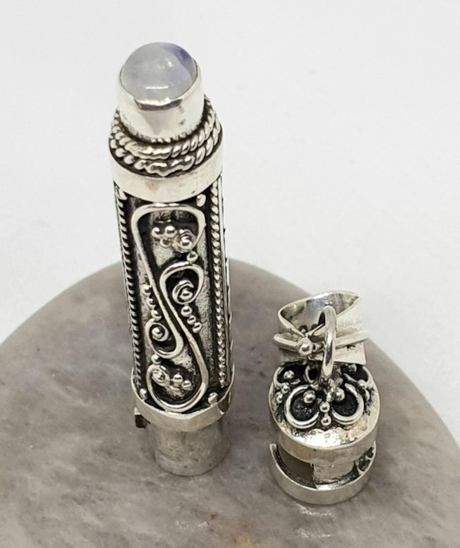 Silver filigree silver prayer or wish box pendant with moonstone image 1