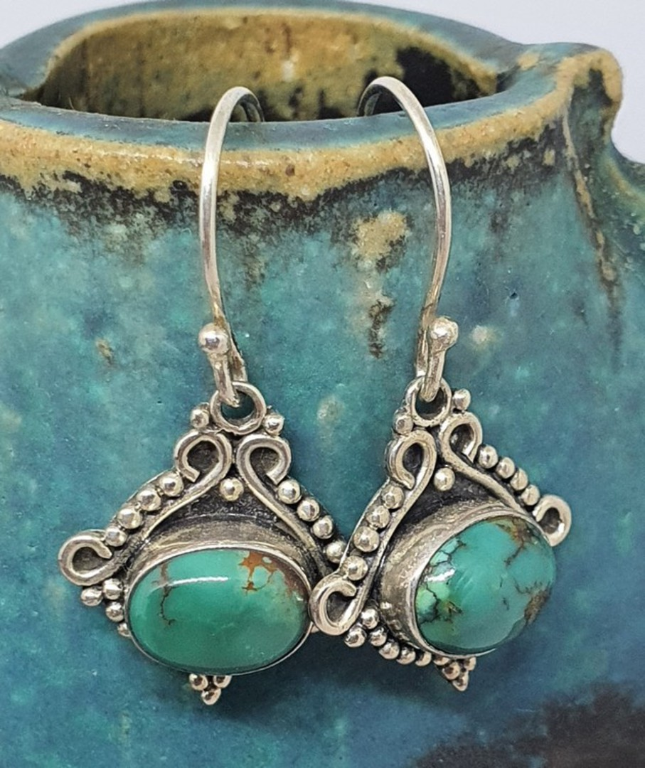Sterling silver turquoise earrings with filigree setting image 0