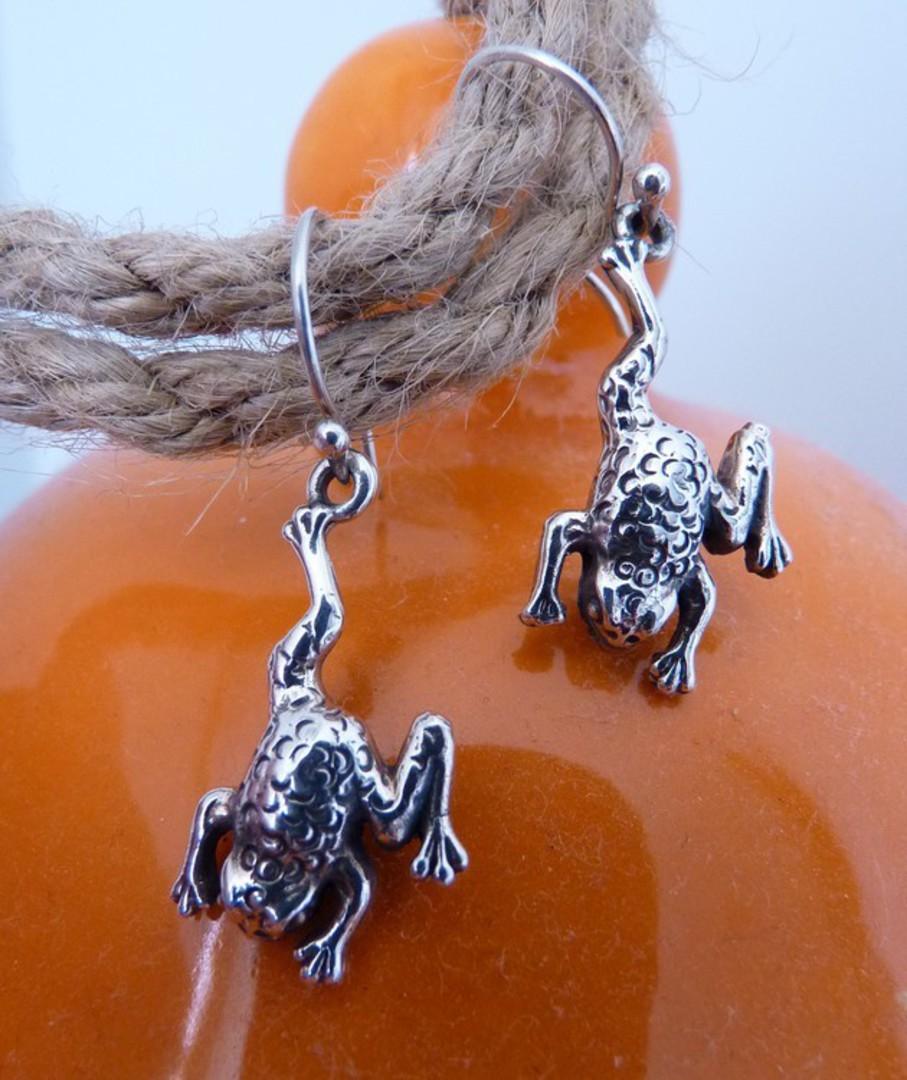 Sterling silver frog earrings image 1