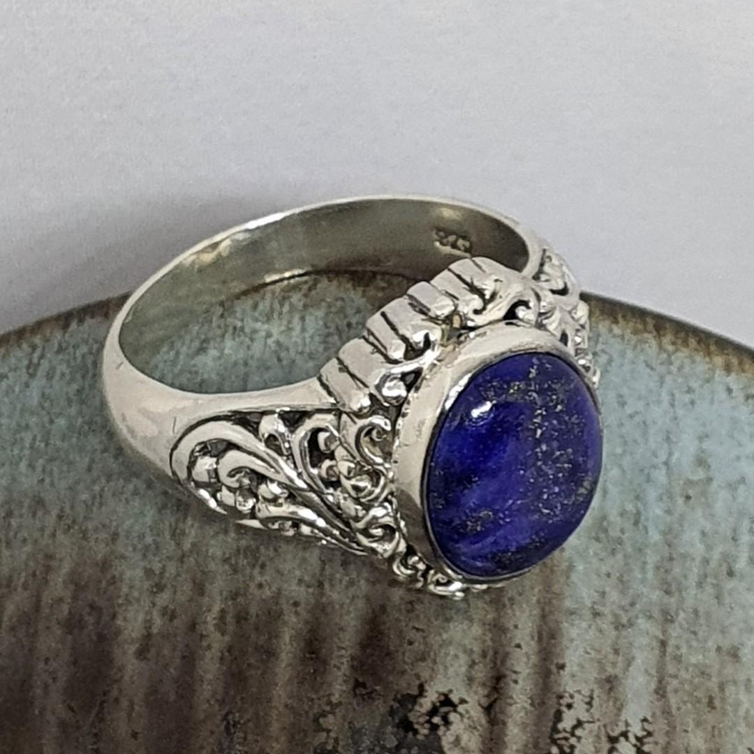 Sterling silver oval lapis lazuli gemstone ring image 4