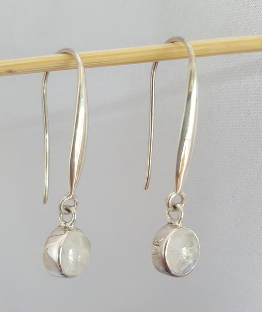 Long, elegant, silver moonstone earrings image 2