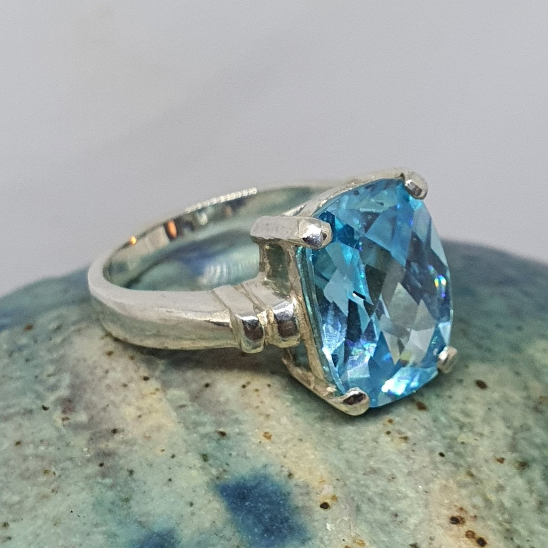 Silver blue topaz ring - NZ made image 4
