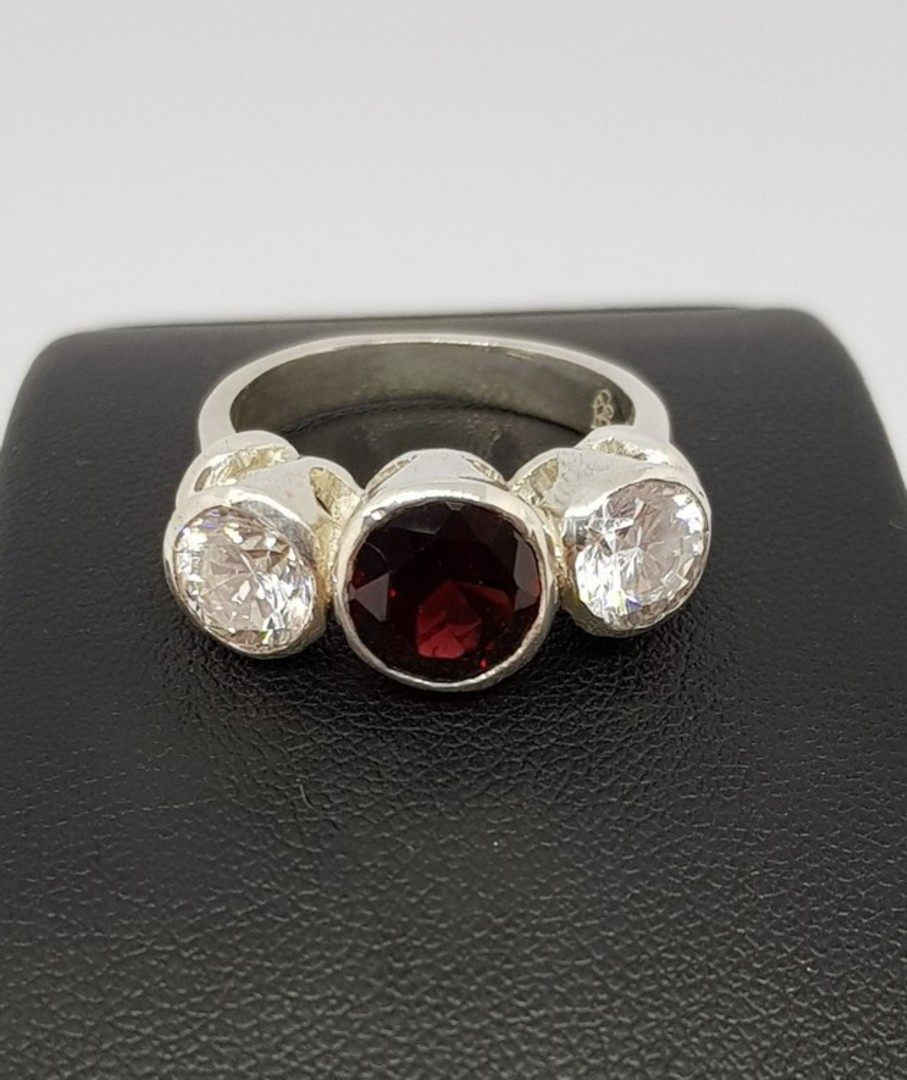 Silver ring with garnet  and cz gemstones - made in NZ image 3