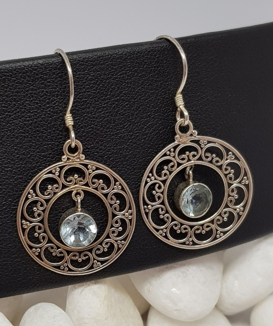 Sterling silver delicate blue topaz earrings image 1