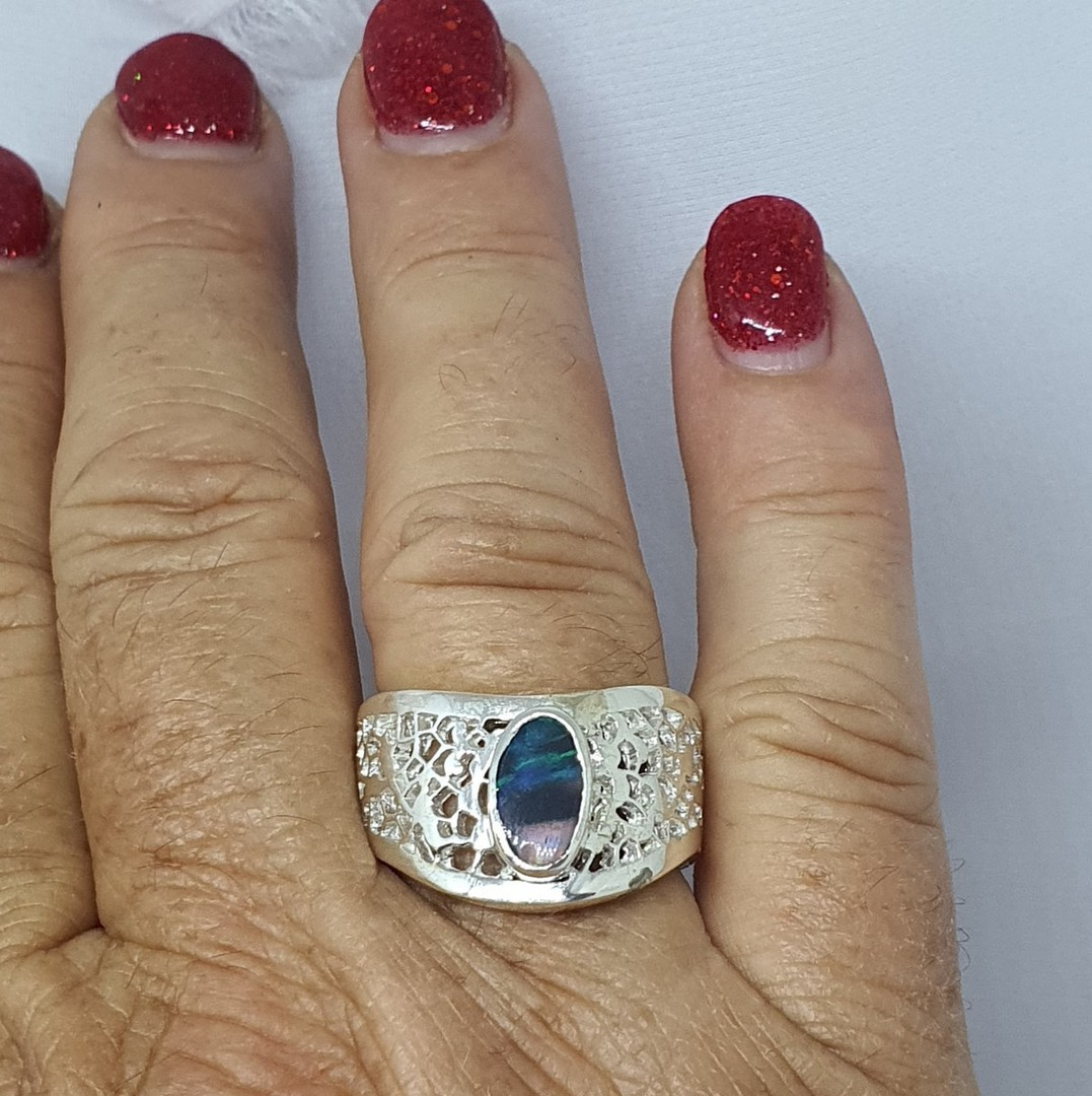 Chunky silver opal ring - made in NZ image 1