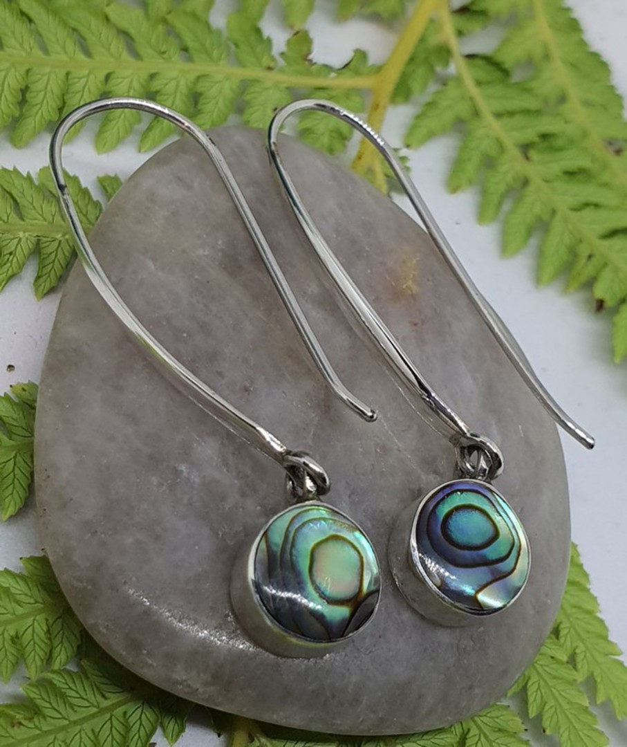 Long hooked sterling silver paua shell earrings image 1