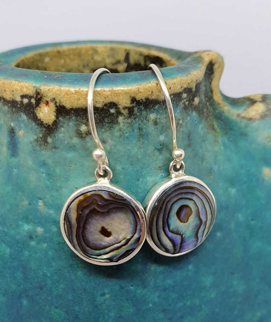 Paua shell silver earrings - simple yet stylish image 0
