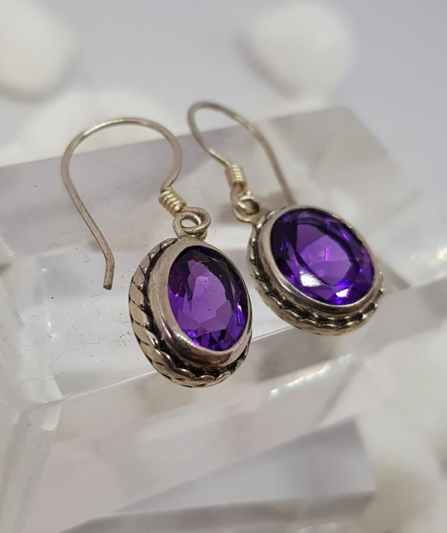 Sparkling sterling silver amethyst earrings image 2