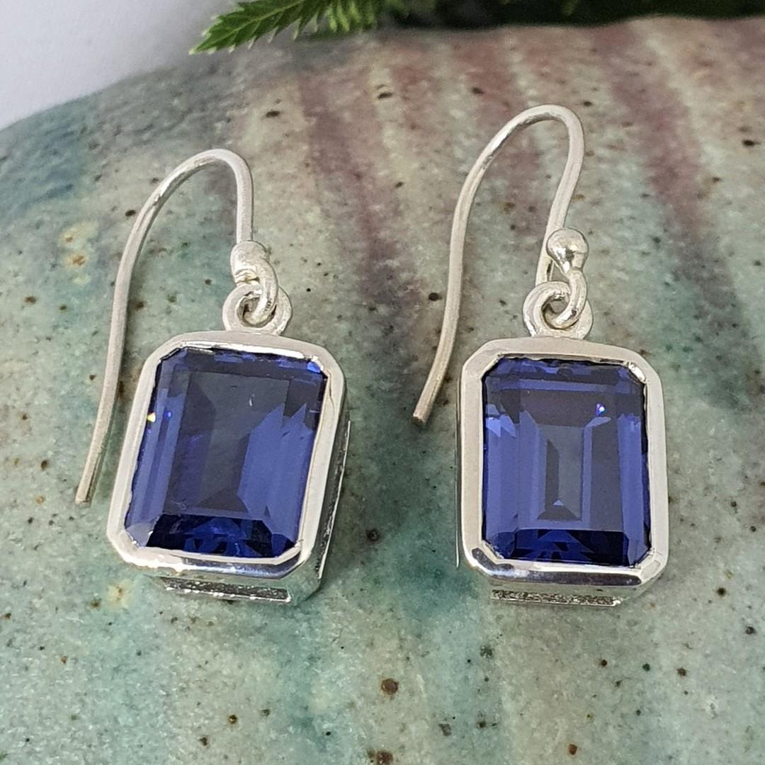 Sterling silver deep blue gemstone earrings image 0