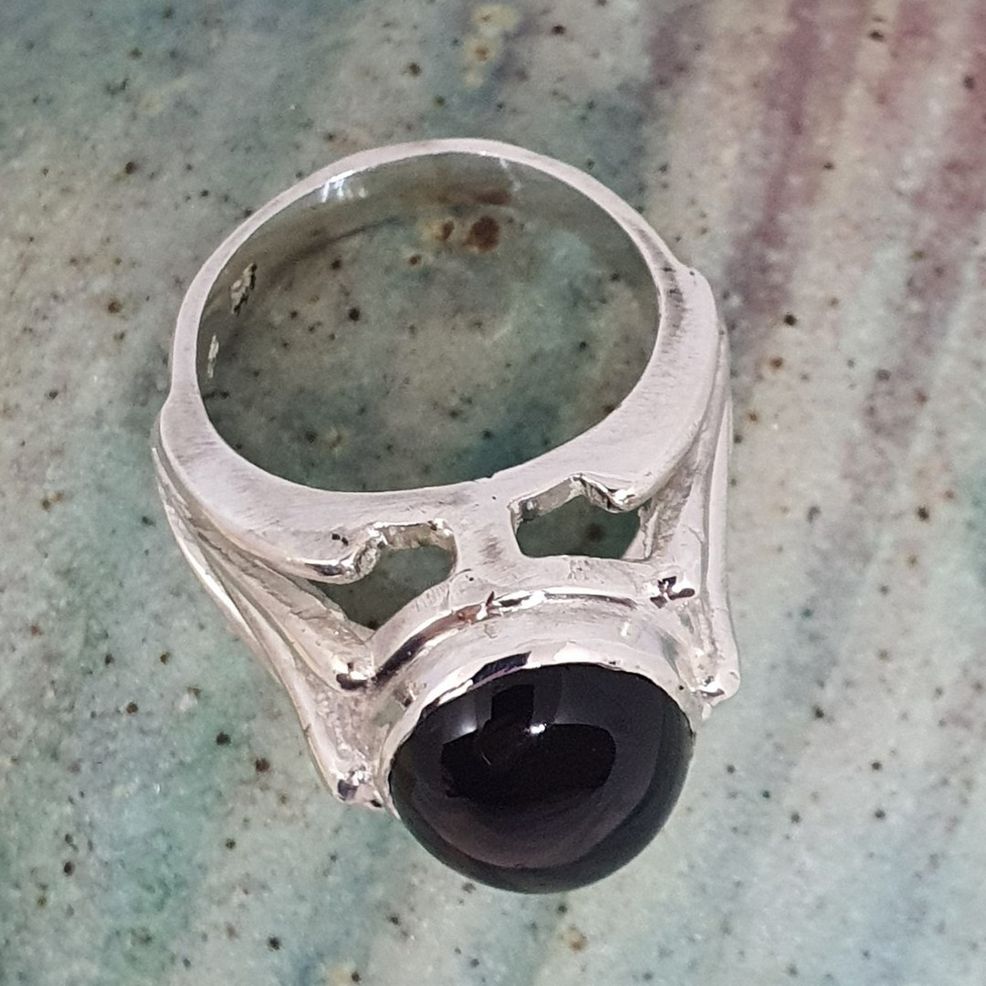 Made in New Zealand, sterling silver onyx gemstone ring image 4