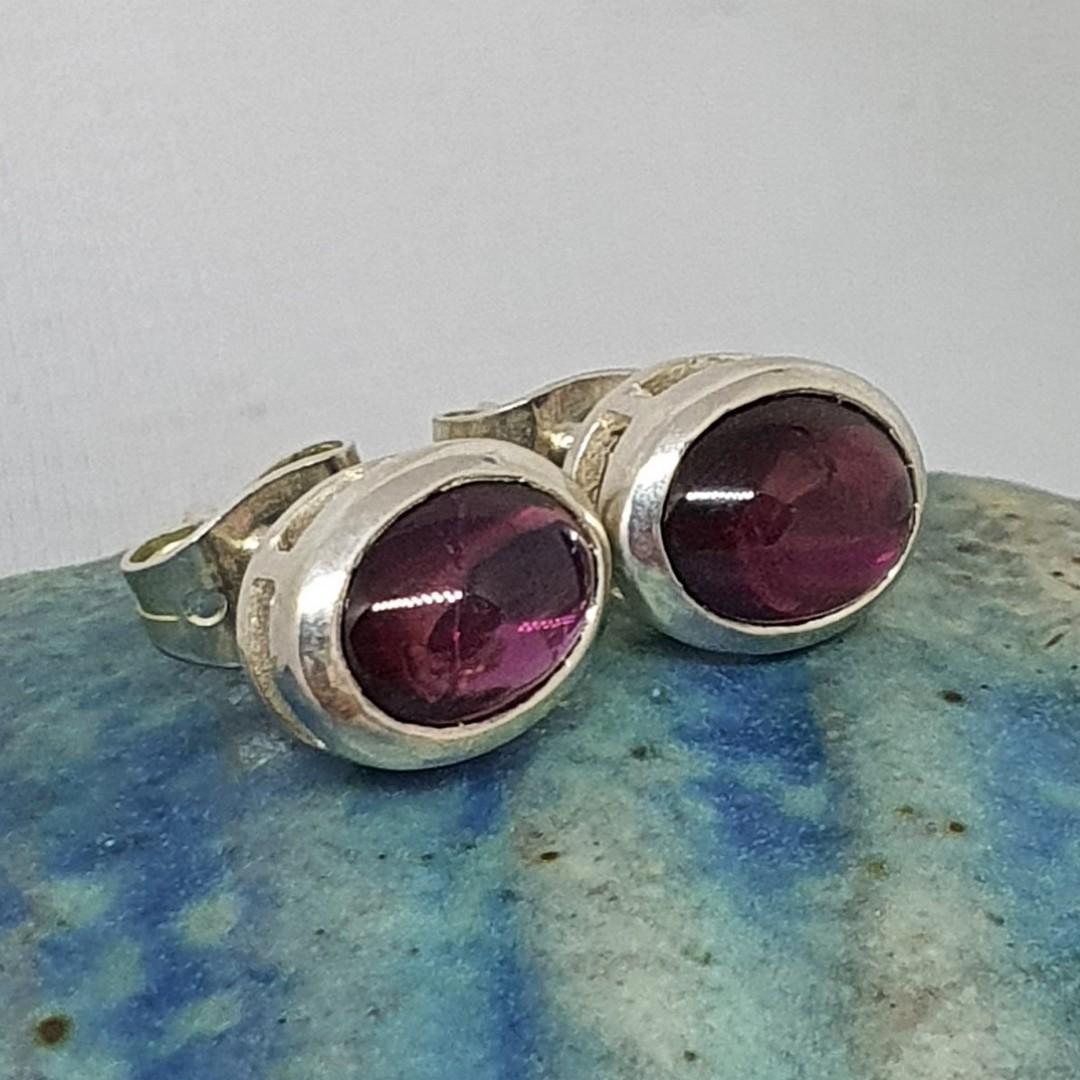 Natural amethyst sterling silver stud earrings image 0