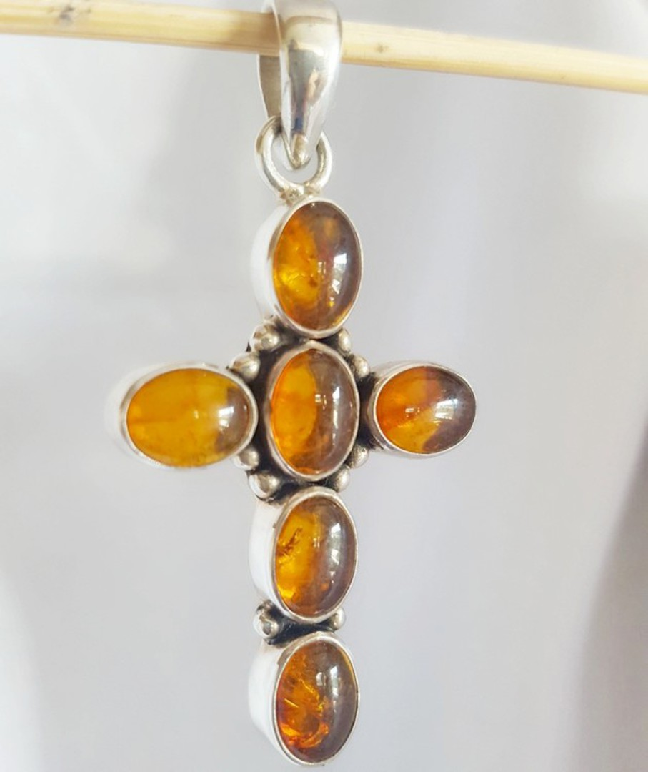 Sterling Silver Amber Cross image 0