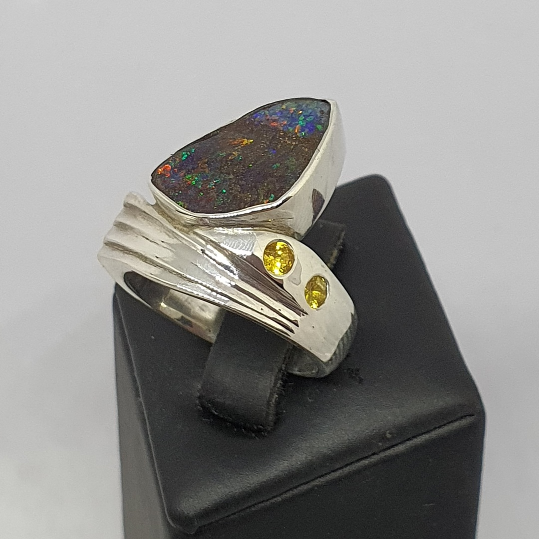 Boulder opal and natural yellow sapphire silver ring image 0