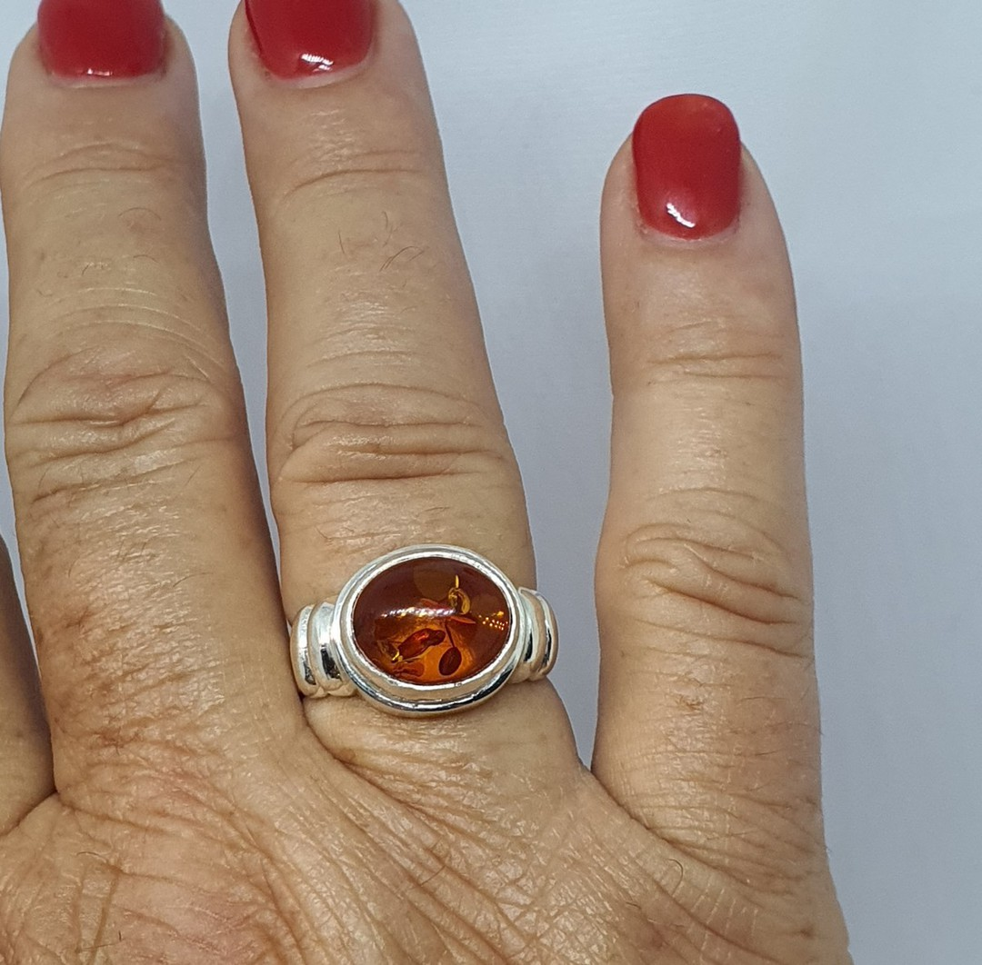 Silver amber ring , made in New Zealand image 4