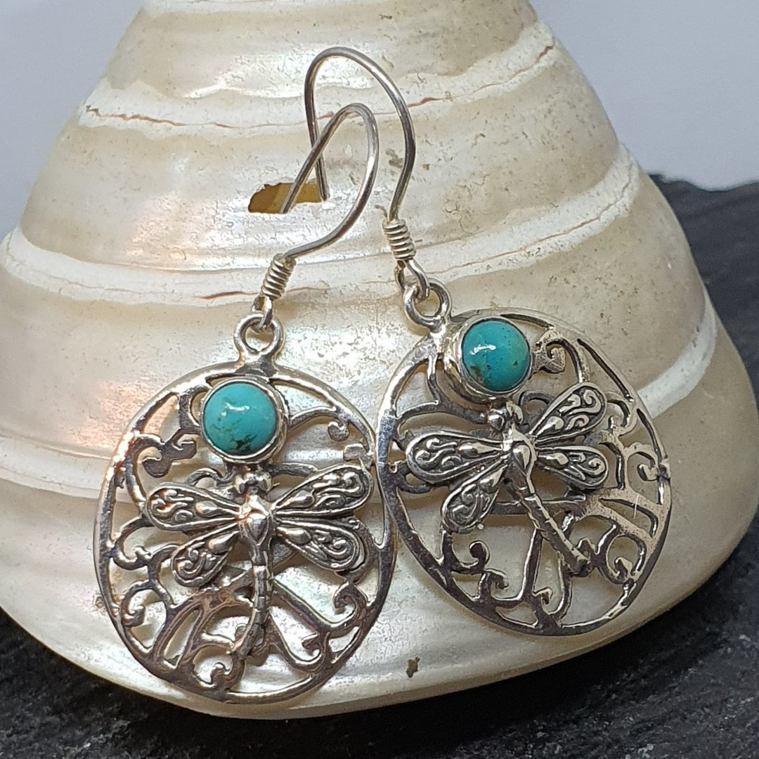 Silver turquoise large oval earrings image 1
