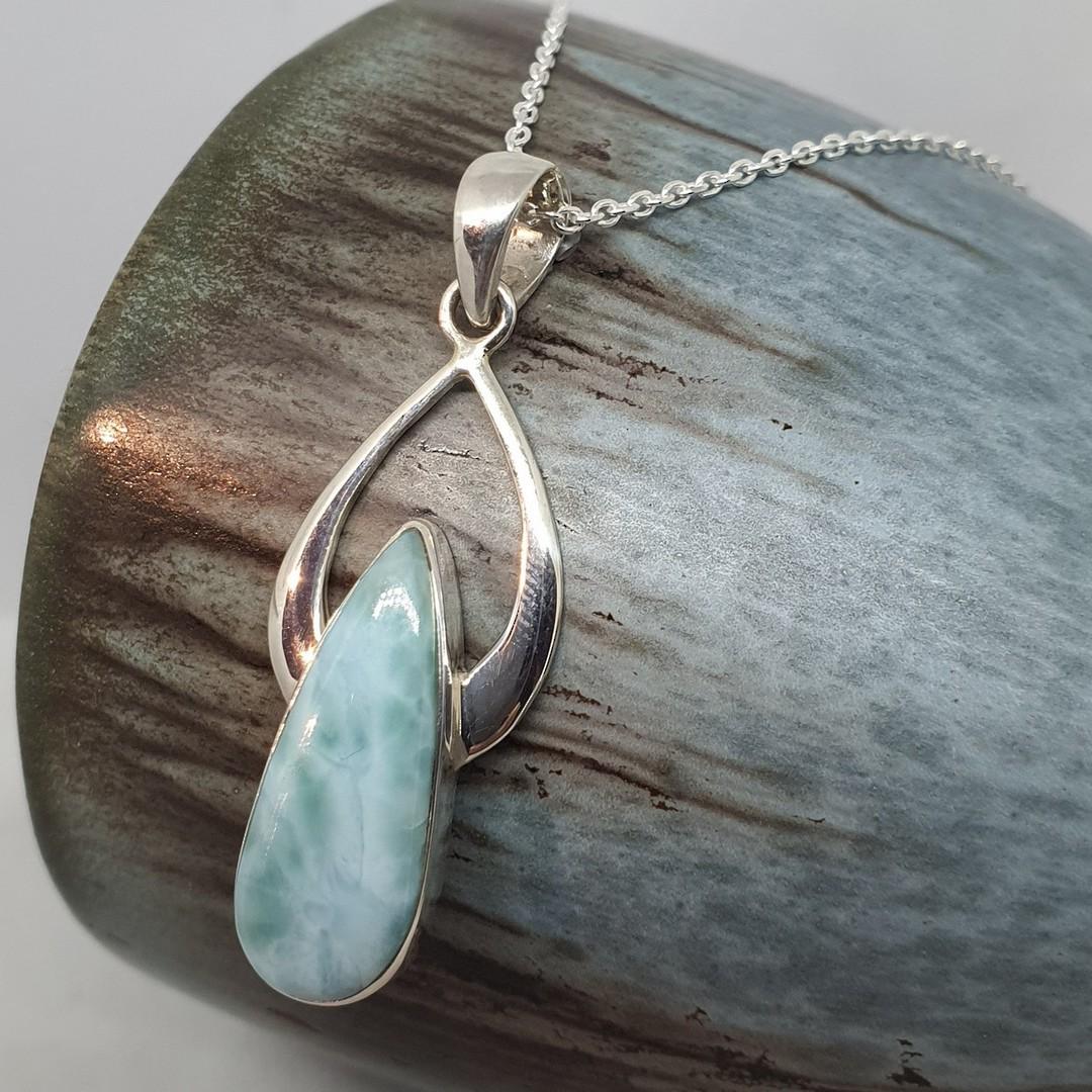 Sterling silver teardrop larimar gemstone pendant image 1