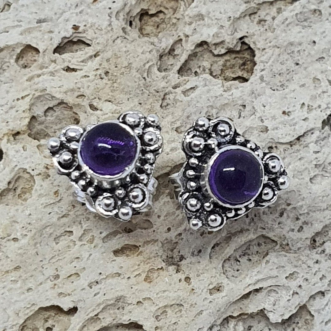Silver stud earrings with natural amethyst image 2