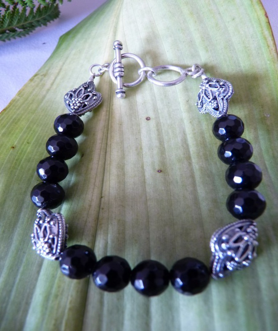 Facet cut black onyx beads and silver bracelet image 1