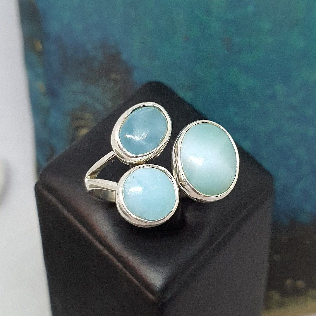 Sterling silver larimar gemstone ring image 0