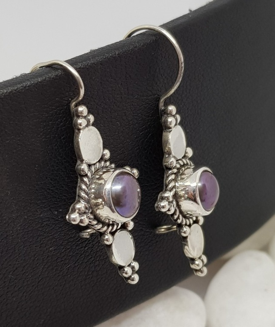 Long hook silver blue grey pearl earrings image 3